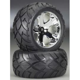 Traxxas Chrome AllStar Wheels, Anaconda Tires Assembled