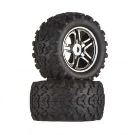 Traxxas Tire/Wheels Black Chrome Maxx 17mm (2)