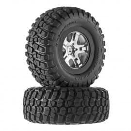 Traxxas KM2 Front/Rear Tire On SCT Chrome Wheel (2)