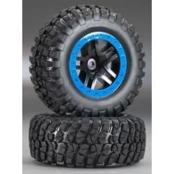 Traxxas Tire/Wheel Assy Glued SCT Split-Spoke Black