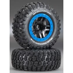 Traxxas Tire/Wheel Assy Glued SCT Split-Spoke Black (2)