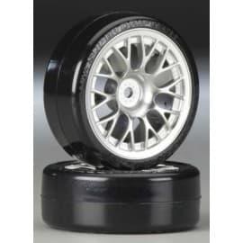 Tamiya Mtl-Pltd Mesh Wheel w/Cmntd Sup Driftech Tires 24mm